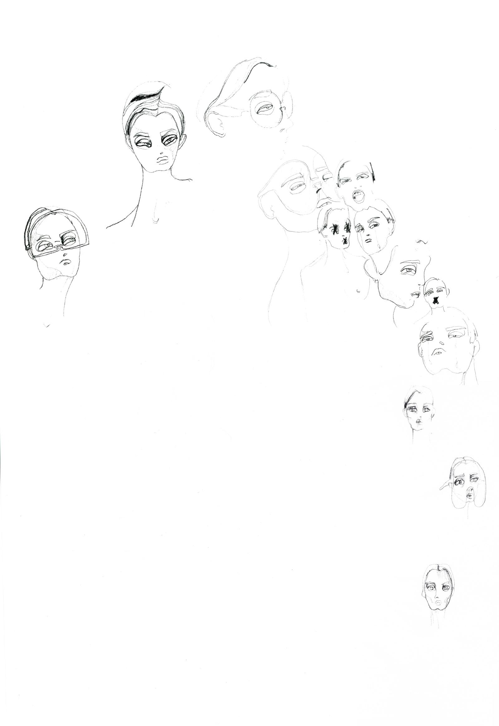 fine line pen on paper face and visors illustration