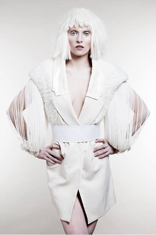 fault magazine fringed sleeved coat with hand embroidery leather and plastic detailing
