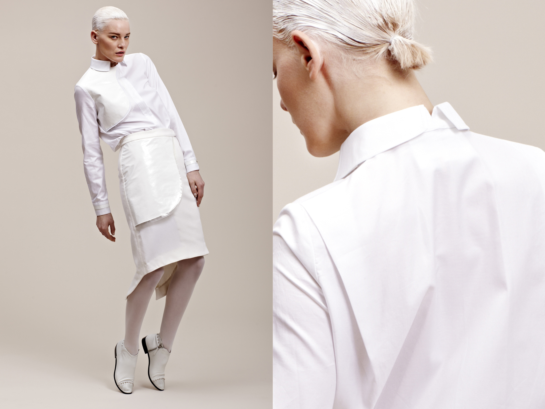 white cotton shirt with leather and plastic gun flap patent leather and plastic detailing wool skirt with leather patent and plastic gun flap taping detailing