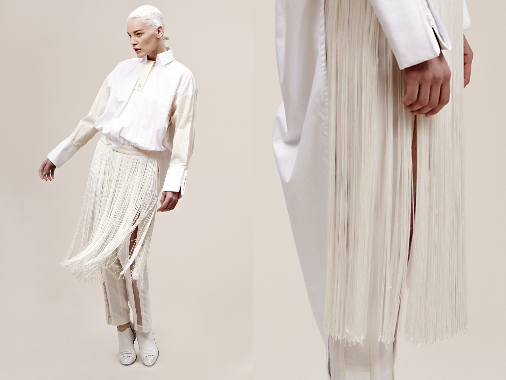 cotton fringed bomber shirt tailored trousers with plastic panels